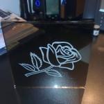 Лазерно гравиране на стъкло роза 2